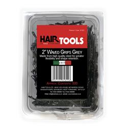 Hair Tools 2 Waved Kirby Grips Grey - 500 thumbnail