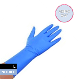 Blue Long Cuff Nitrile P.Free L 50's thumbnail