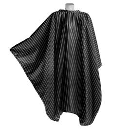 Vintage Barber Cape Black with White Stripe thumbnail