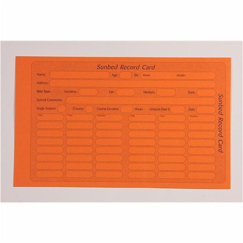 Sunbed Record Cards Image 1