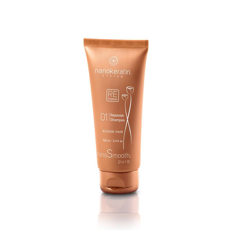 Nanokeratin System Replenish Shampoo Blonde Hair 100ml Image 1