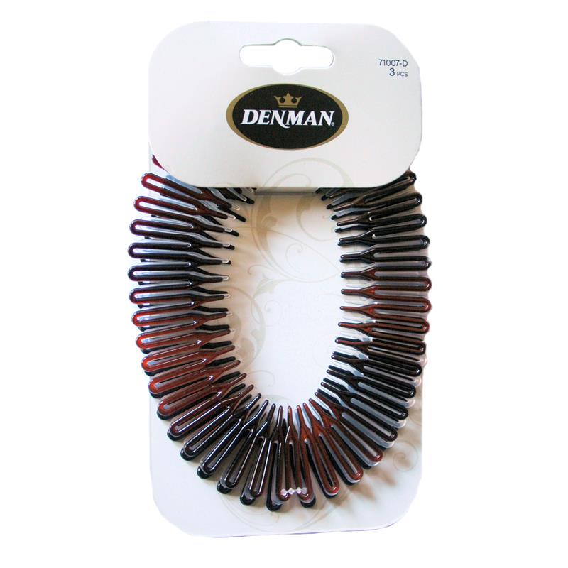 Denman 3 pk Stretch Comb Head Band Image 1