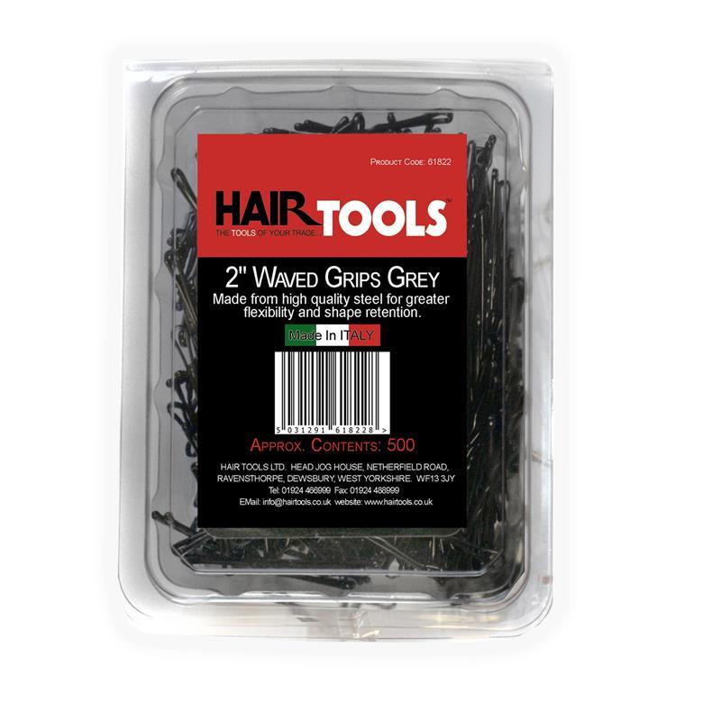 Hair Tools 2 Waved Kirby Grips Grey - 500 Thumbnail Image 0